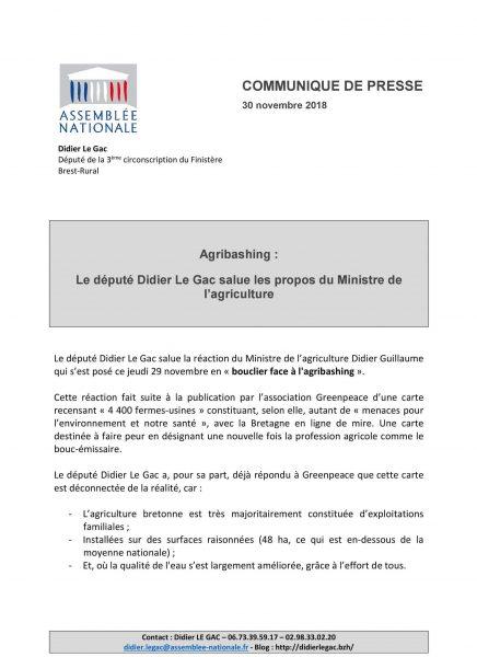 Agribashing : Le député Didier Le Gac salue les propos du Ministre de l'agriculture