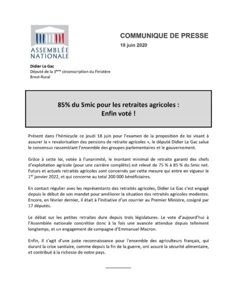 communiqué de presse de Didier Le Gac sur les retraites agricoles