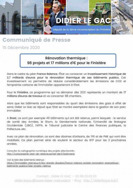 Rénovation thermique : 98 projets et 17 millions d'€ pour le Finistère